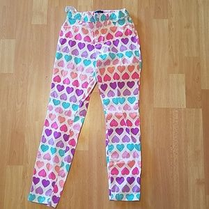 Multicolored heart skinny jeans